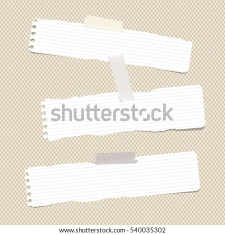 White ruled torn note, notebook, copybook paper sheets stuck with sticky tape on brown squared pattern