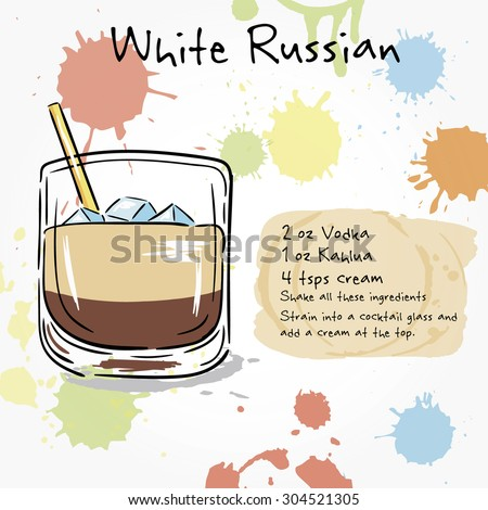 White russian hand drawn illustration cocktail stock for Cocktail recipes with ingredients on hand