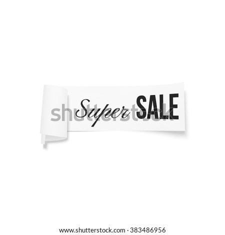 White sale sign, paper banner, vector ribbon with shadow isolated on white.