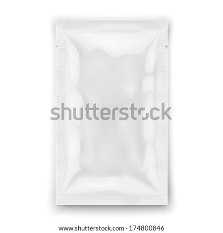 White sample package for cosmetics or food : sauce, shampoo, gel, individual wet wipe. Ready for your design. Packaging collection. - stock vector
