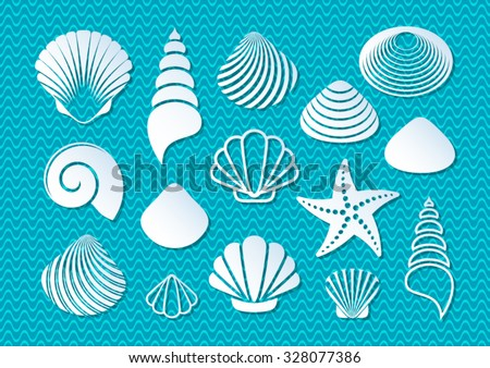 White sea shells and starfish icons with shadows - stock vector