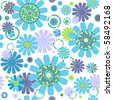 White seamless floral pattern with flowers and colorful circles (vector) - stock vector