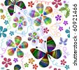 White seamless floral pattern with vivid butterflies and flowers (vector) - stock vector