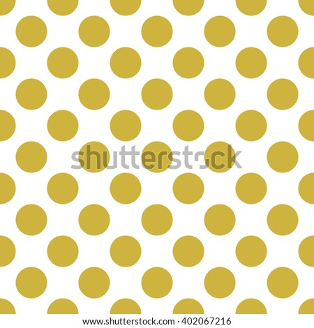 White Seamless Pattern with Big Gold Polka Dots