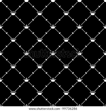 White seamless pattern with crown symbol on black, vector, 10eps. - stock vector