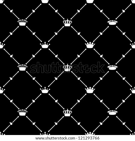 White seamless pattern with crown symbol, vector, 10eps.