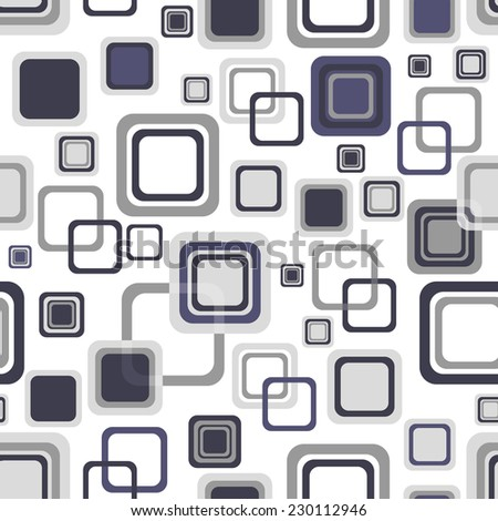 White seamless pattern with gray and dark violet translucent squares (vector eps 10) - stock vector