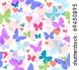 White seamless valentine pattern with hearts and butterflies (vector EPS 10) - stock vector