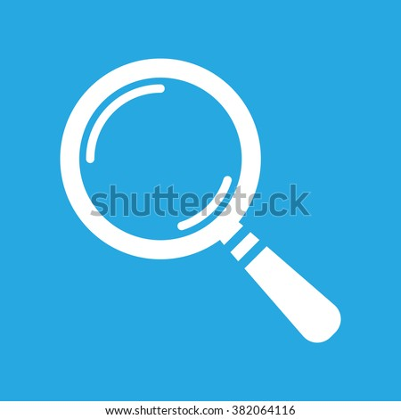 white search icon flat on a blue background, search icon design, search icon web, vector magnifying glass - stock vector