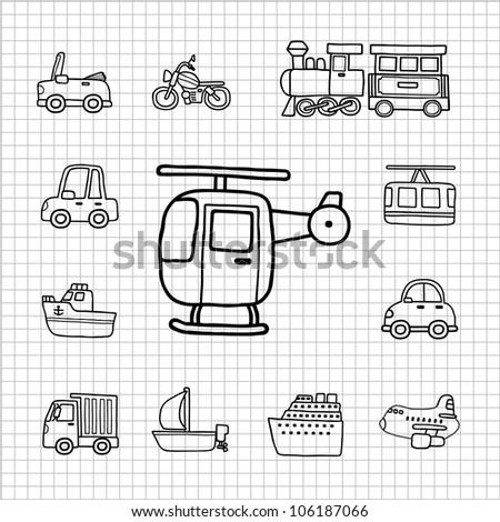 White Series | Hand drawn Car,Transportation icon set - stock vector