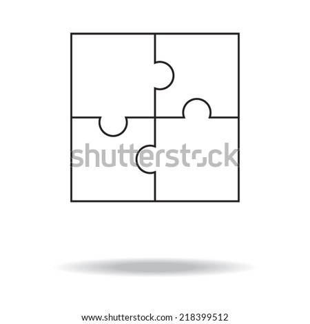 White set of puzzles. Business - stock vector