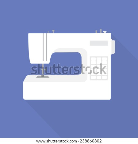White sewing-machine with electronic control in a flat style on a blue background
