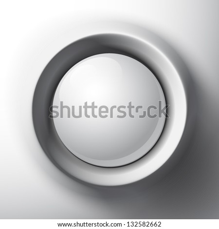 White shaded plastic button vector template - stock vector