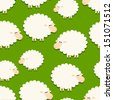 white sheep on green seamless pattern - stock vector