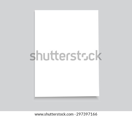 White sheet of paper.Realistic vector background