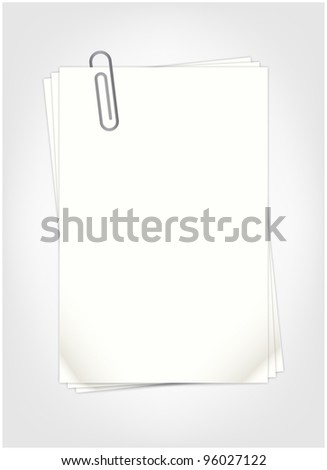 White sheets for record stapled paper clip - stock vector