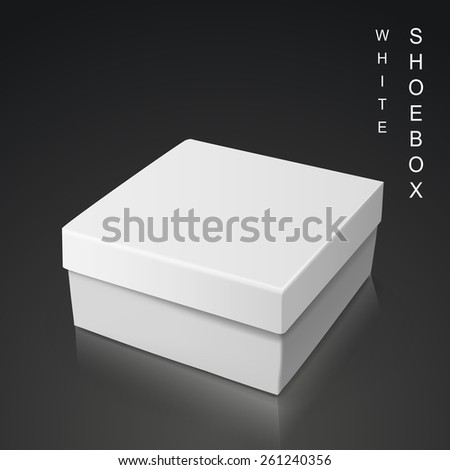 white shoe box isolated on black background - stock vector