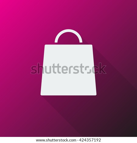 White Shopping Bag icon on pink background