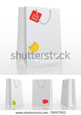 White shopping bag on white background with stickers. Vector illustration. - stock vector