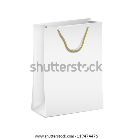 White shopping paper bag. Vector eps10