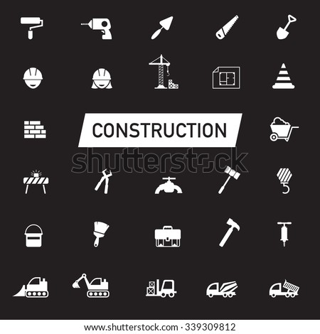 White silhouette Civil engineering, maintenance labor, excavator transport and construction site industry graphic tool equipment sign and symbol icon collection set, create by vector  - stock vector