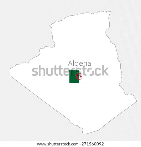 White silhouette map of Algeria on a gray background - stock vector