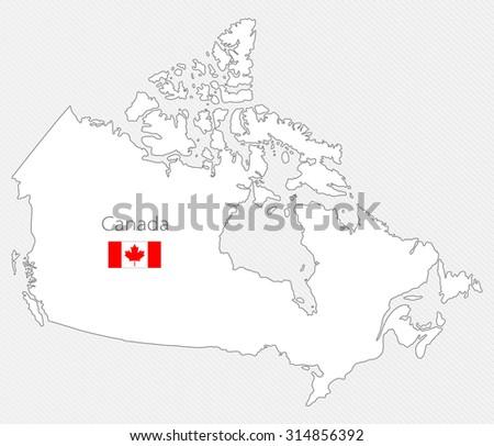 White silhouette map of Canada. North America - stock vector