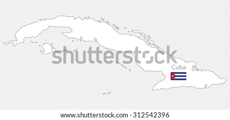 White silhouette map of Cuba on a gray background. North America - stock vector