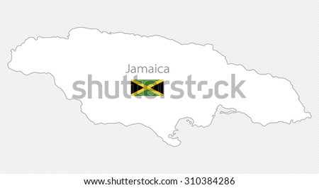 White silhouette map of Jamaica on a gray background. North America - stock vector