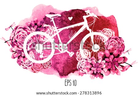 White silhouette of bicycle with succulent design and watercolor texture on background. Card isolated on white background - stock vector