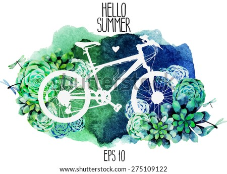 White silhouette of bicycle with succulent design and watercolor texture on background. Vector card isolated on white background - stock vector