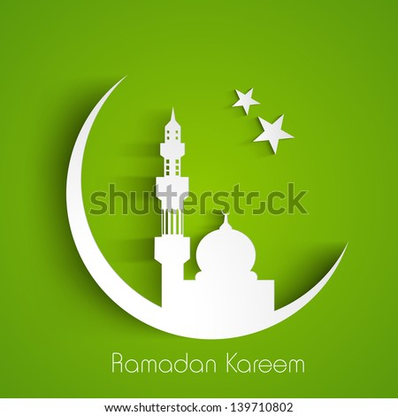 White silhouette of Mosque or Masjid on moon with stars on abstract green background, concept for Muslim community holy month Ramadan Kareem or Ramazan Kareem. - stock vector
