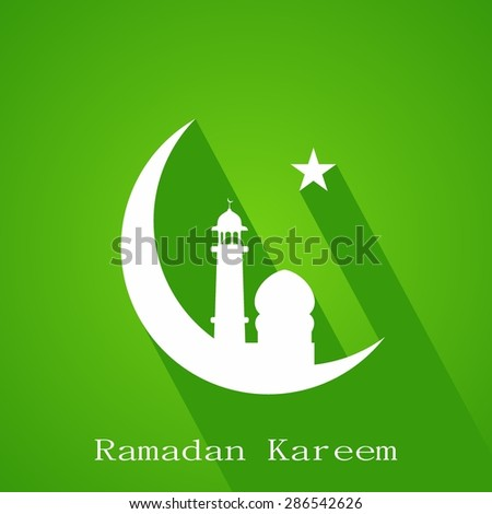 White silhouette of Mosque or on moon with star on abstract green background, Ramadan Kareem. - stock vector