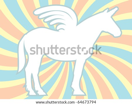 White Silhouette Unicorn Swirl Background Vector Illustration - stock vector