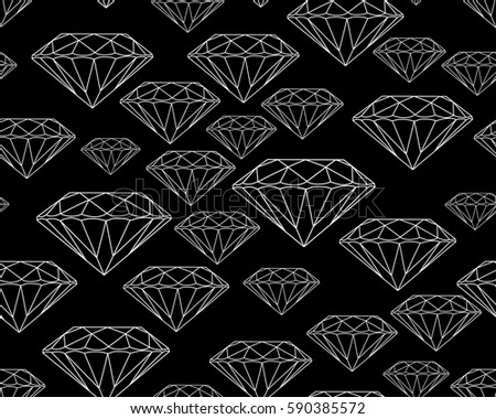 White Silhouettes Faceted Vector Gems On Black Background Seamless Jewelry Pattern Wallpaper Gem Jewel