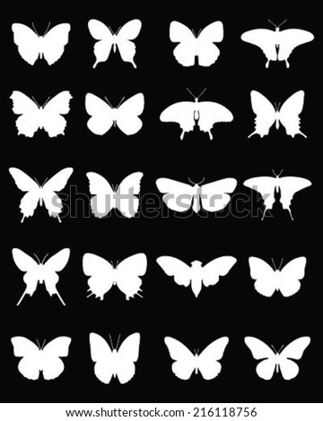 White silhouettes of butterflies on a black background 2, vector - stock vector