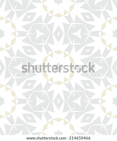 White, silver and gold geometric texture in art deco style with abstract stars and snowflakes for Christmas and holiday decor or wedding invitation background. Seamless vector pattern for winter - stock vector