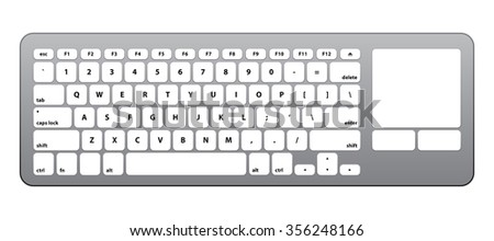 White Silver Keyboard with Touch QWERTY #2 - Isolated Vector Illustration