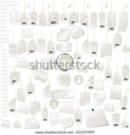 White Silver Price Tag Label Set VECTOR isolated on white - stock vector