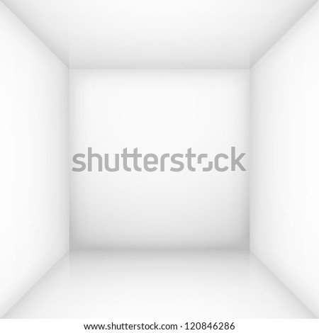 White simple empty room interior, box. Illustration for design - stock vector