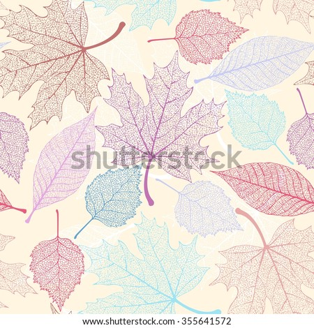 White skeleton decorative leaves vector seamless background