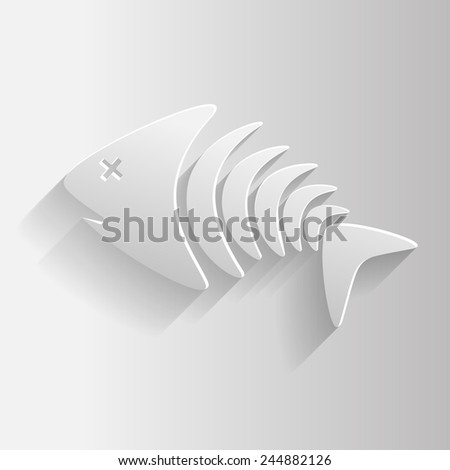 White skeleton fish, vector illustration eps 10 graphic - stock vector
