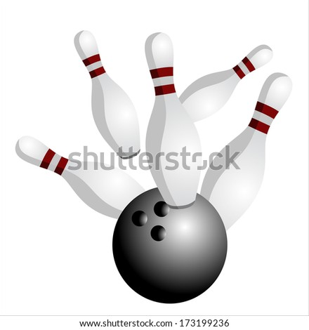 white skittles and black ball on white background, bowling - stock vector