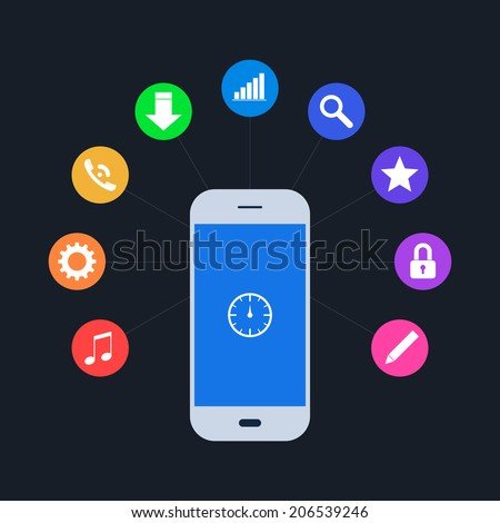 White smart phone device concept with different colorfoul applications (app). Icons in flat design. Isolated on black background. Vector illustration, EPS 8. - stock vector