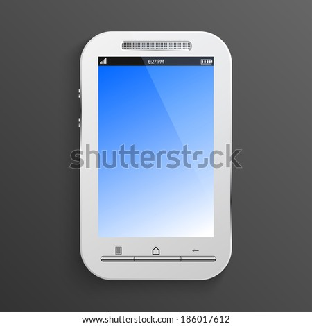 white smart phone isolated on black background