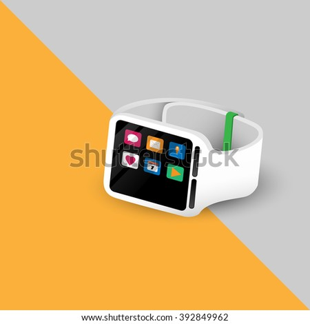 White Smart Watch With Application Vector Design