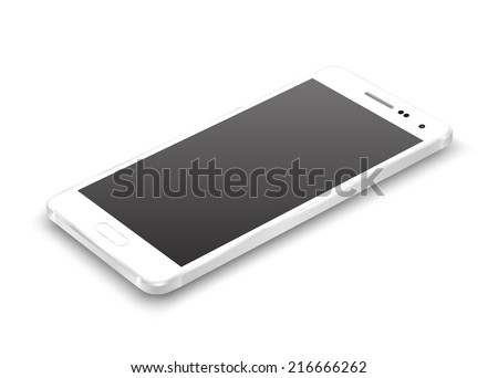 White smartphone perspective view. Vector realistic. - stock vector