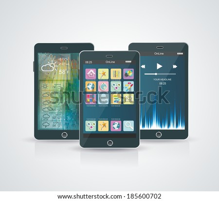 White Smartphone with Cloud of Application Icons - stock vector