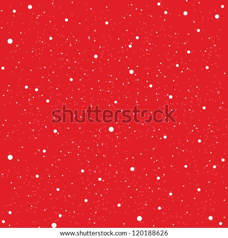 White snow falling on red background vintage seamless pattern - stock vector