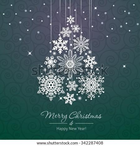 White Snowflake Christmas Tree On Green Stock Vector 342287408 ...